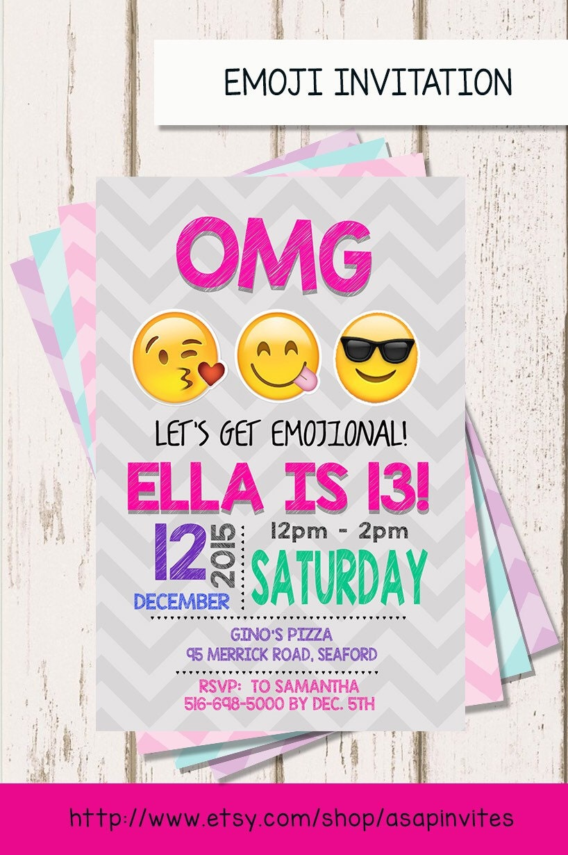 Reserved Listing EMOJI BIRTHDAY INVITATION Emojis Emoji