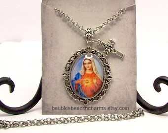 Catholic Necklace, Catholic Jewelry, Sacred Heart of Mary Necklace, Immaculate Heart, Religious Necklace Jewelry, Madonna Necklace