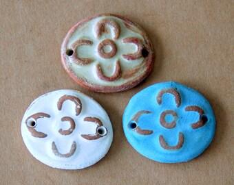 3 Handmade Ceramic Beads - Sweet Set of Bracelet Beads - Folk Art Flower Beads - Rustic Boho links for Hemp Hippie Bracelets
