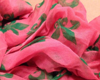 Pink and Green Fleur De Lis Scarf