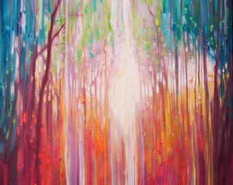 LARGE ORIGINAL Oil Painting - Revelation - a path through an autumn wood