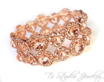 Rose Gold Pearl & Silk Crystal Bridal Cuff Bracelet