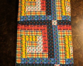 2+ yards of Material - red, yellow blue block pattern