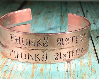 Phunky sister copper cuff bracelet