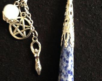 Divining Pendulum, Dowsing Pendulum, Blue Jasper, Spiral Goddess, Pentagram, Moonstone, Blessed During Eclipse