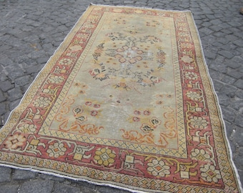turkish rug vintage, rug wool fashion rug, oushak vintage rug, soft  home rug , 442