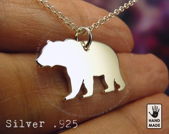 Grizzly Bear Handmade Sterling Silver .925 Necklace in a gift box