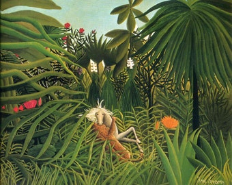 Jaguar Attacking a Horse by Henri Rousseau Home Decor Wall Decor Giclee Art Print Poster A4 A3 FLAT RATE SHIPPING