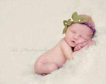 Figs and Olives - Halo Headband - Purple Green - Pearls - Girls Newborns Baby Infant Adults - Photo Prop