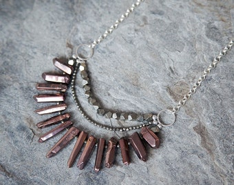 Valkyrie statement necklace // bronze quartz necklace // organic // rustic // boho // fan necklace // layered necklace //  raw crystal