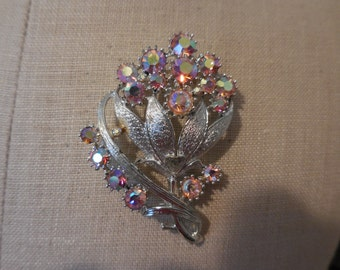 Vintage Brushed Silver Tone Brooch Coro Pin/Brooch Flower With Pink Iridescent Rhinestones 1950s to 1960s
