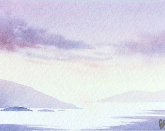 Original watercolor ACEO painting - Bright seaside afternoon
