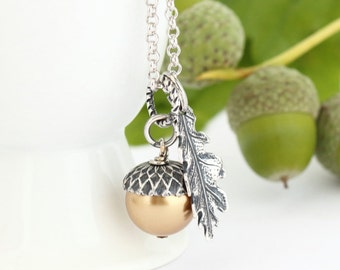 Gold Acorn Pendant - Gift For Mother - Silver Acorn Necklace - Sterling Silver Chain - Gift For Mom - Woodland Necklace - Rustic Necklace