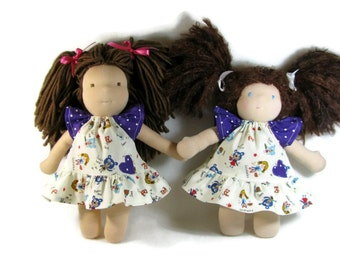 Waldorf doll clothes, goldilocks dress for 10 to 12 inch doll