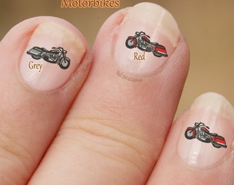 Motor Bike Nail Art, Motor Cycle Nail Art Stickers vingernagel stickers, vinger nail art, motor, motorfiets, grijze of rode stickers