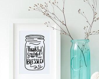 Thankful SVG Grateful SVG Blessed SVG File Hand Drawn Digital Download Thanksgiving Mason Jar