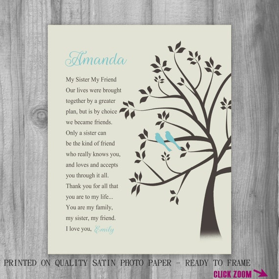 Personalized Birthday Gift For Sister Print Canvas Turquoise