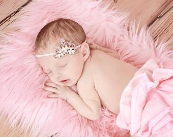 Pink Rhinestone Tiara Baby Photo Prop, Pink Tiara Headband, Ready To Ship Pink Crystal Princess Crown for Newborn Baby, Infant Girls