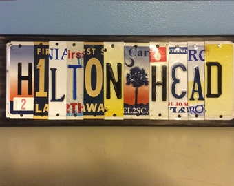 HILTON HEAD Island hh hhi Custom Recycled LICENSE Plate Art Sign