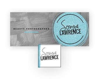 Beauty Brand Banner | Glitter Facebook Page Banner | Makeup Artist Banner Design in Teal Glitter, Dark Gray, and Black