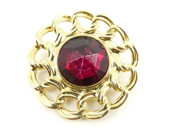 Vintage, Red Faceted, Brooch, Synthetic, Gold Tone, STU48