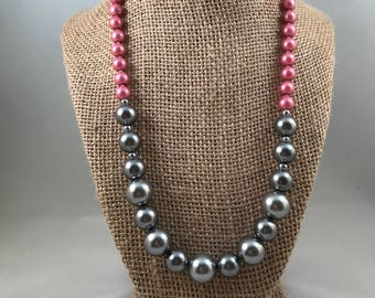Grey Pink and White Pearl Necklace, Multi-Pearl Necklace, Pearl Beaded Necklace.