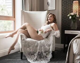Long Lace Bridal Robe | Wedding Day Robe| Full Length Bridal Robe