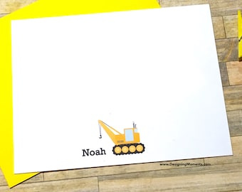 Construction Stationery - Personalized Boys Flat Cards - Crane Construction Cards - Thank You Cards - Construction Crane Cards