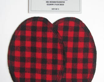 Elbow Patches - Red and Black Buffalo Plaid  - Set of 2