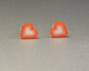 Teeny Tiny Red and White Heart Stud Earrings