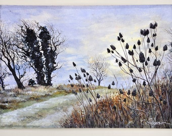 Original Watercolor Painting titled Thistles on the Isle of Wight