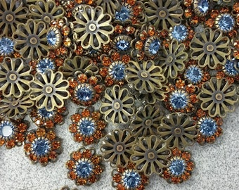 Vintage Topaz & Lite Sapphire Swarovski Crystal Flower (6)