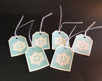 Set of 6 Winter blue and white sparkly snowflake gift tags