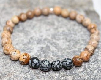 Mens gemstone bracelet, Picture Jasper, obsitian, stretch bracelet, stacking, earthy, high fashion, gift for him, boho, Free shipping