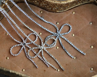 Sweet rhinestone bow necklace - 3 colors