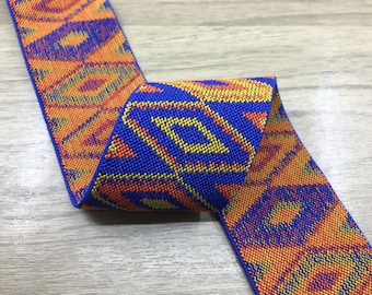 2 inch (50mm) Wide Colored Ethnic Pattern Elastic Band, Waistband Elastic, Elastic Trim, Sewing Elastic 61080