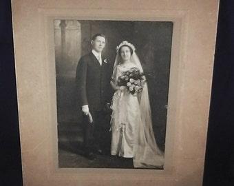 "antique wedding photo on cardboard, circa 1850/80, Charlston South Carolina, 9.8"" x 11 """