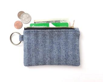 Keychain Wallet Coin Purse Zipper Pouch Blue Herringbone Fisher Stripe