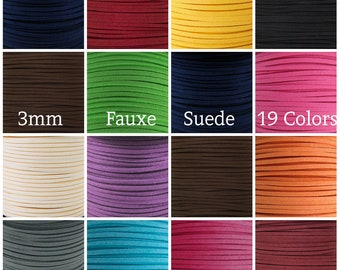 100 Yard Spool - 3MM x 1.5MM Faux Suede Cord Leather Lace Beading String Bracelet Necklace Making - You Pick Color!