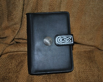 Mundi Black leather organizer wallet with customized, one-of-a-kind, hand-painted Celtic designs by Wes Connell