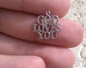 Vintage Authentic Tiffany and Co 925 Sterling silver God Loves You, charm stamped Tiffany & Co. sterling