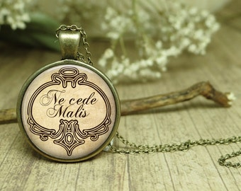 Latin Quote Necklace Ne Cede Malis Yield not to misfortune Quote Pendant High Quality Glass Necklace Latin Literature Latin Language jewelry