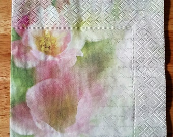 Set of 4 Apple Flower Paper Lunch Napkins Serviette Party Decoupage Collage Scrapbooking Crafts #007