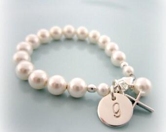 Baby Pearl Bracelet. Personalized Baby Pearl Cross Bracelet. Baptism. Flower Girl. Weddings. First Communion