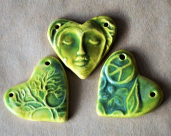 3 Sweet Ceramic Heart Pendant Beads -  Meditation Face, Tree of Life, and Peace Heart Focals in Spring Green Glaze - Valentines Gift