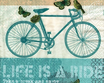 67 bird bike and BUTTERFLIES pattern X 4 paper towel