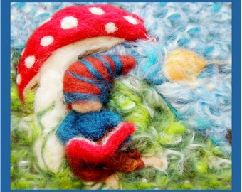 Printed Note Card - Gnome Reading on a Sunny Day -image from soft sculpture fairy standing figure by Rebecca Varon Nushkie Design