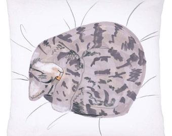 Cat Pillow Cushion 'Cat Nap' Grey Tabby Sleeping Kitten