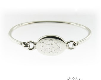 Monogrammed .925 Sterling Silver Hinged Oval Baby Bracelet Personalized Monogram