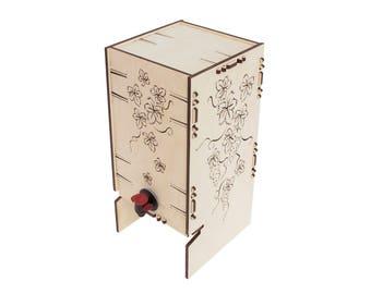 Wooden wine holder - Boxed wine holder - Boxed wine package - Wooden wine package - Wooden box on tap - Rustic wine holder - Wine bag holder